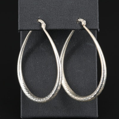 Sterling Textured Pear Shaped Hoop Earrings