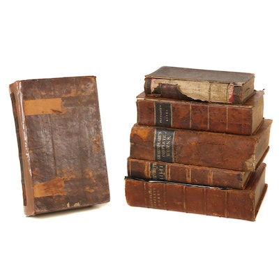 Leather Bound Cicero, Plutarch, Shakespeare, and Byron Books, Mid-19th Century