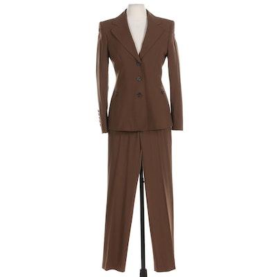 Escada Brown Wool Blend Pantsuit