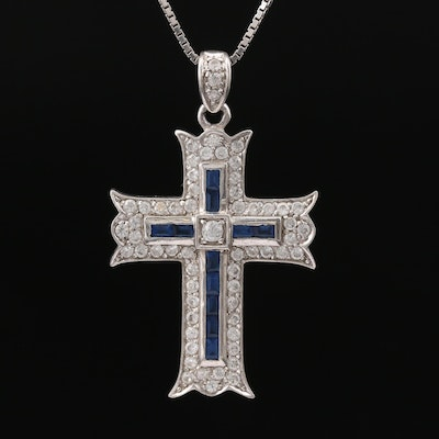 Sterling Cubic Zirconia and Glass Cross Pendant Necklace
