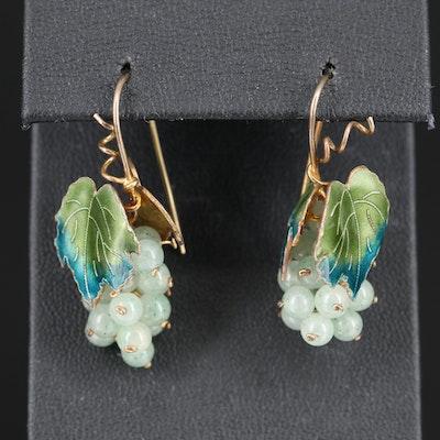 Sterling Silver Aventurine Quartz and Enamel Grape Cluster Drop Earrings