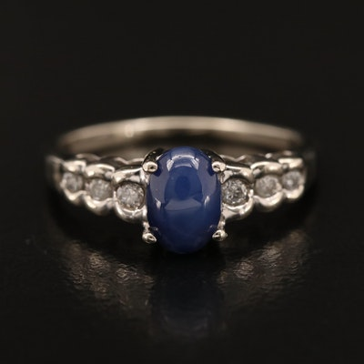 10K Star Sapphire and Diamond Ring