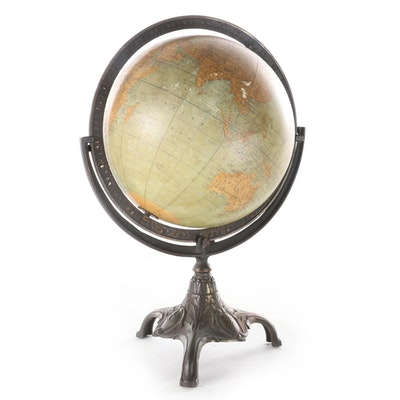 Art NouveauGlobe on Cast Metal Stand, Early 20th Century