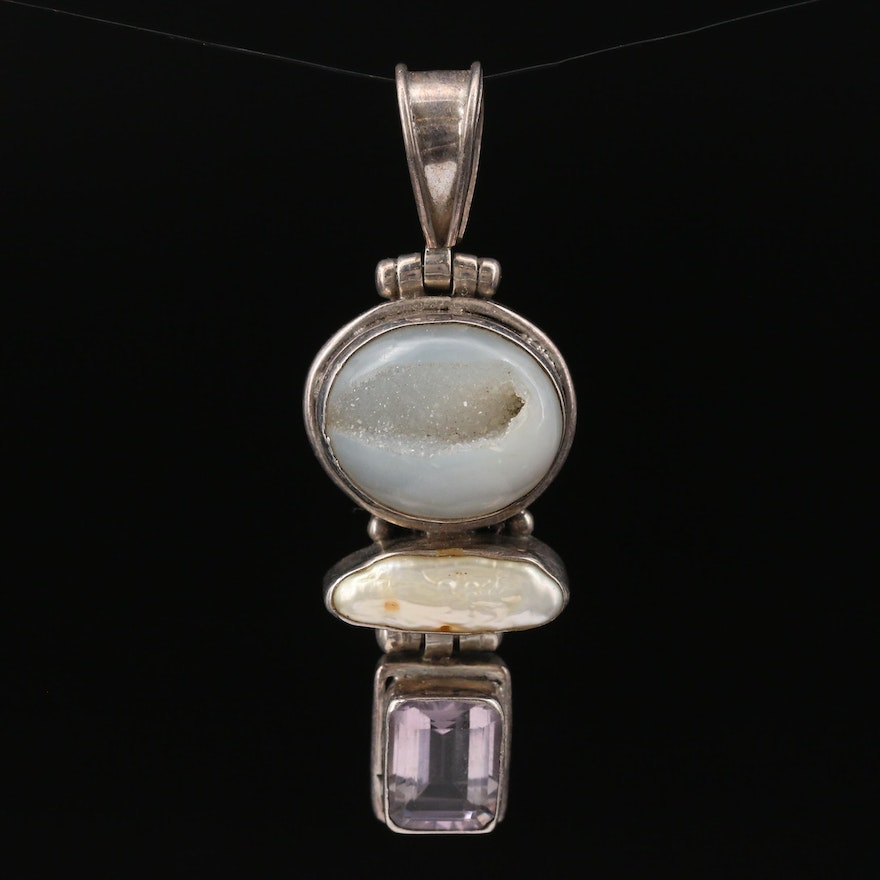 Sterling Silver Druzy, Pearl, and Amethyst Pendant
