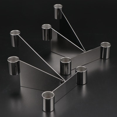 "Patricia Urquiola for Georg Jensen ""Urkiola"" Stainless Steel Candle Holders"