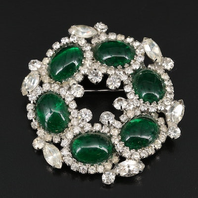 Circa 1950 Weiss Rhinestone and Green Glass Brooch