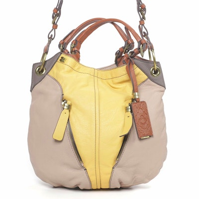 orYANY Two-Way Shoulder Bag in Color Block Leather