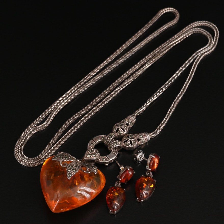 Sterling Silver Marcasite, Amber Pendant Necklace with Amber Earrings
