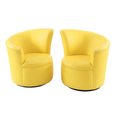 Pair of Modernist Lemon Yellow Leather Asymmetrical Back Swivel Chairs
