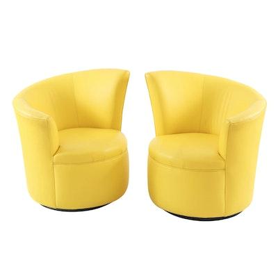 Pair of Modernist Lemon Yellow Leather Asymmetrical Back Swivel Chairs