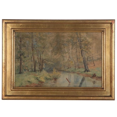 Wooded Landscape Watercolor Painting, Early 20th Century