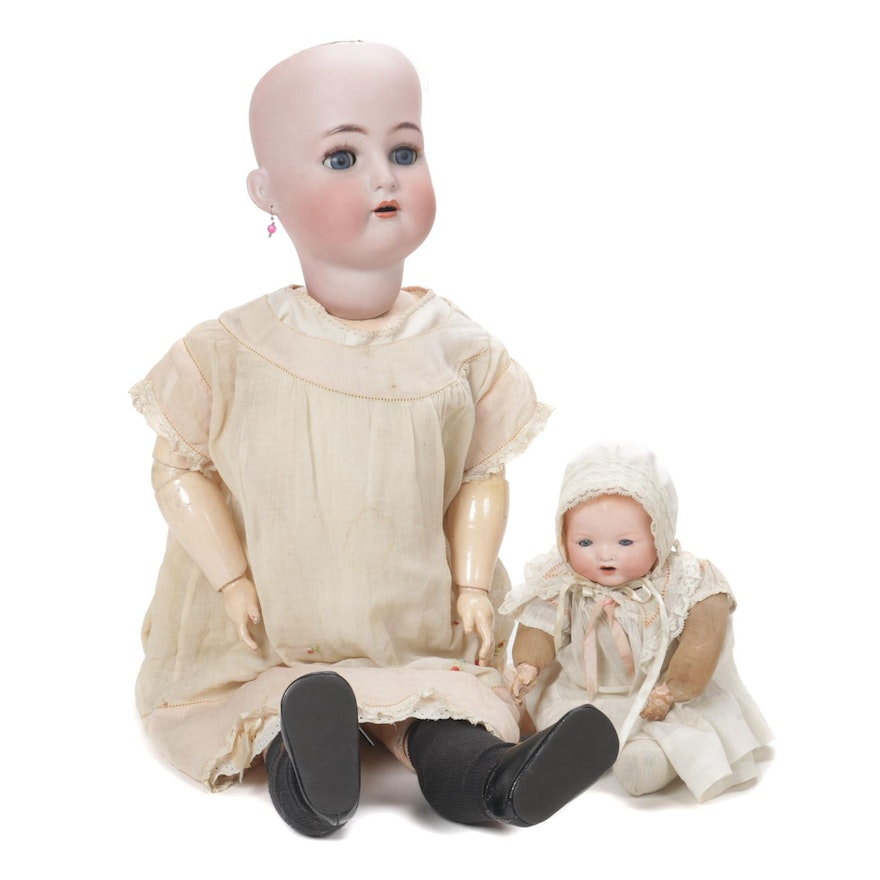 German Hand-Painted Bisque Baby Dolls, Early 20th Century