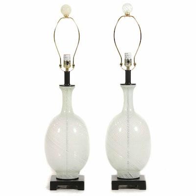 Pair of Blown Glass Mezza Filigrana Glass Lamps