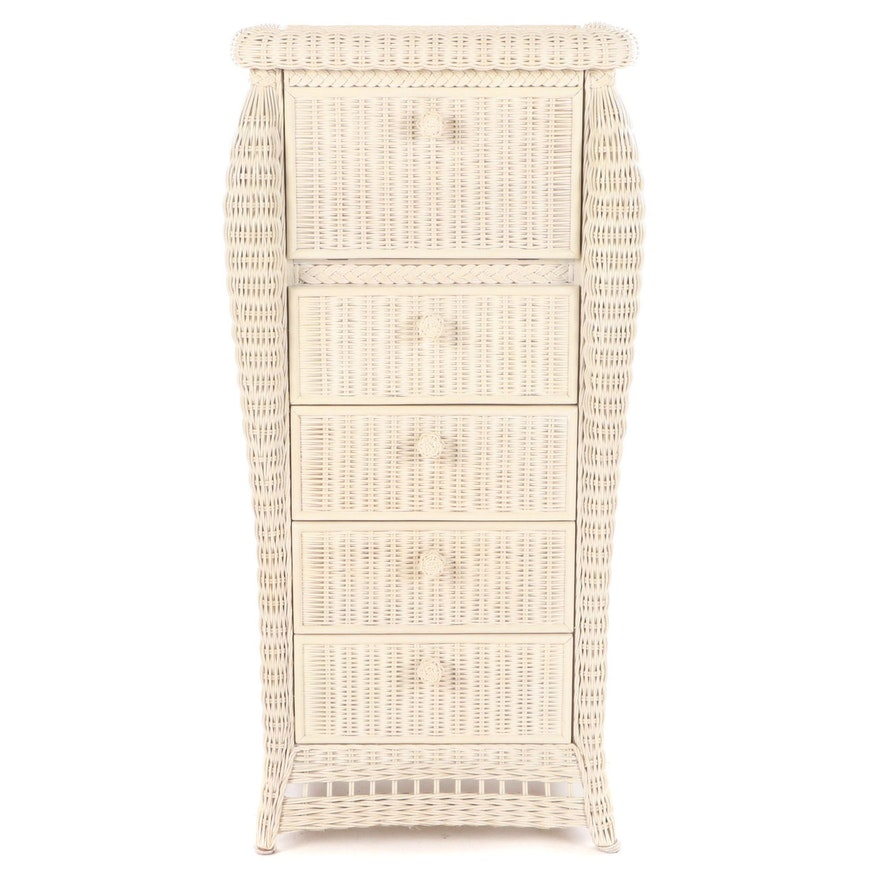 Ivory Wicker Jewelry Armoire, Late 20th Century