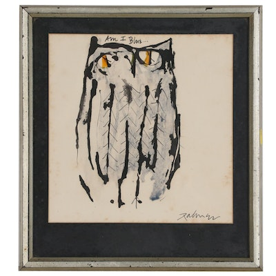 "Ink Illustration of an Owl ""Am I Blue...,"" Late 20th Century"