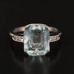 Art Deco 14K Aquamarine and Diamond Ring