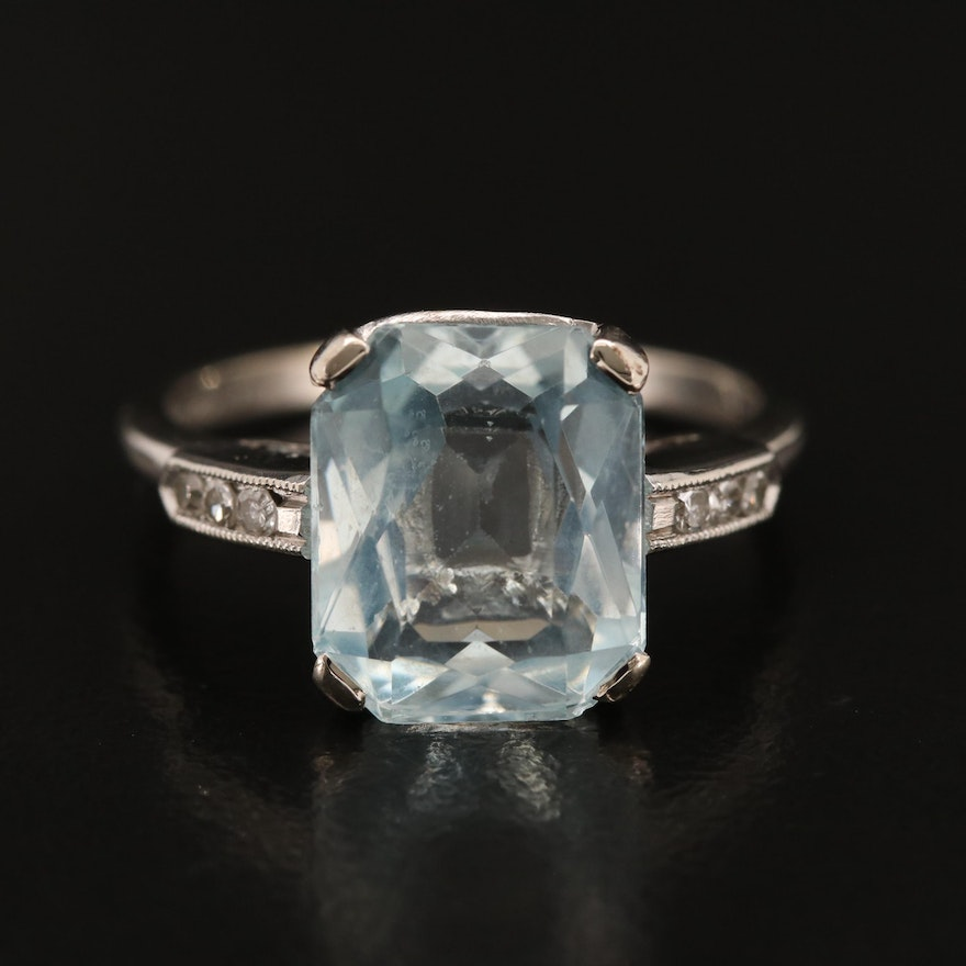 Art Deco 14K Aquamarine and Diamond Ring