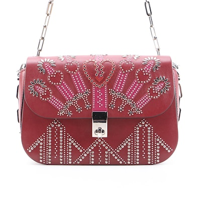 Valentino Love Blade Leather Shoulder Bag Embellished with Swarovski Crystals
