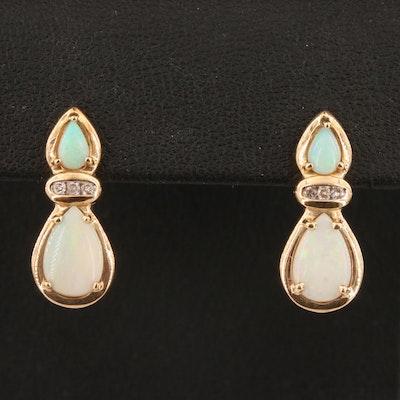 10K Opal and Diamond Drop Earrings