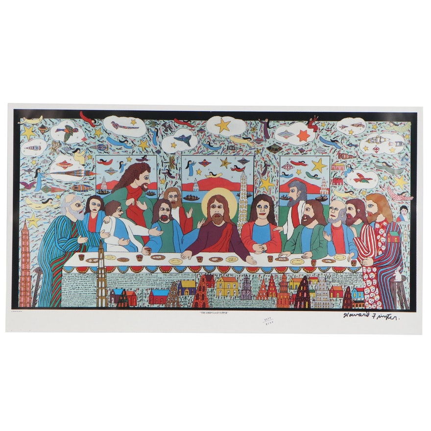 "Howard Finster Offset Lithograph ""The Lord's Last Supper"""