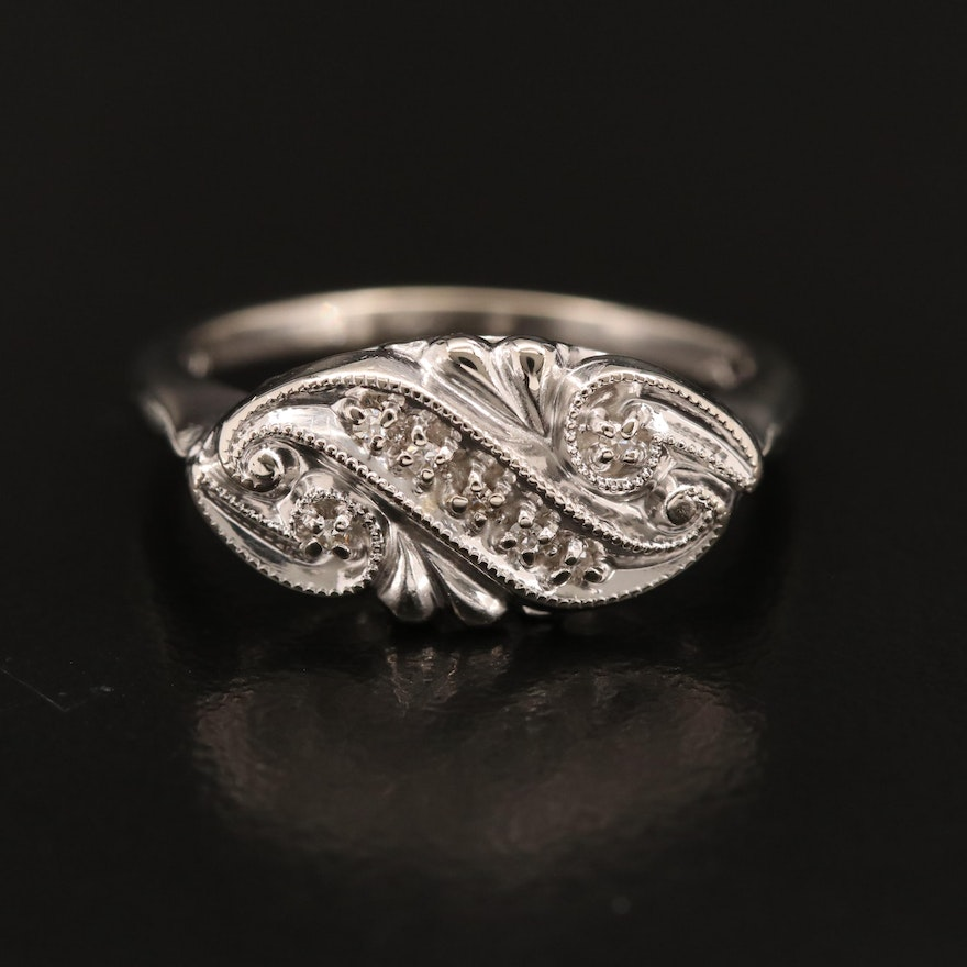Vintage 14K Diamond Ring with Scrolling Design