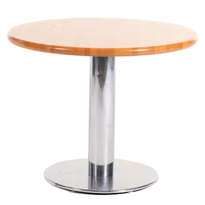 Modern Chrome Pedestal Bistro Table with Tilting Oak Top, 21st Century