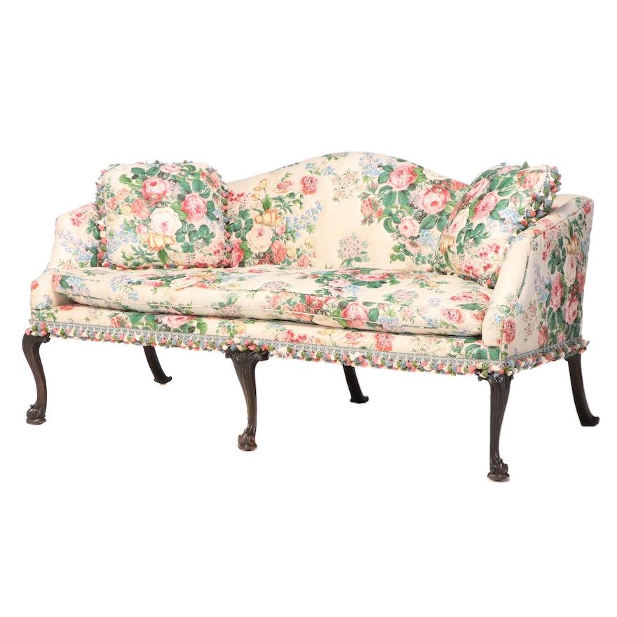 George III Mahogany Camelback Upholstered Sofa, Late 18th/ Early 19th Century