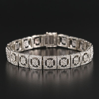 Sterling Silver Diamond Link Bracelet