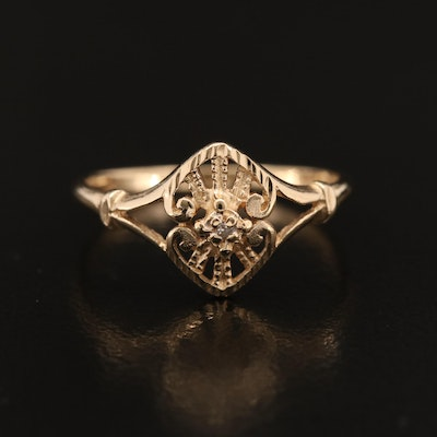 10K Diamond Ring with Scrolled Design