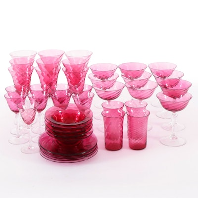 Cranberry Swirl Glass Stemware and Finger Bowls , Mid-20th Century