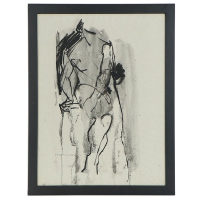 Jack Meanwell Ink Drawing of Figure Study, Late 20th Century