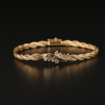 14K Diamond Braided Style Bracelet