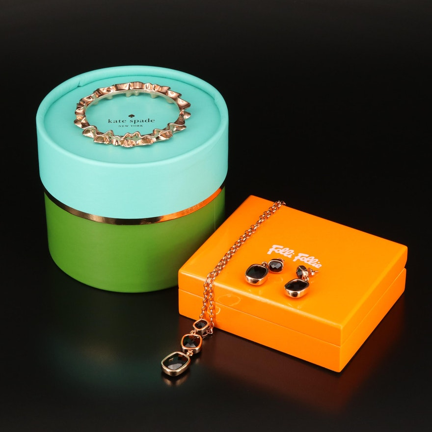 Matching Folli Follie Necklace and Earrings and Kate Spade Hinged Bangle