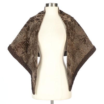 Alfred Rainer Brown Broadtail Lamb Fur Wrap with Braided Trim for Ben Thylan