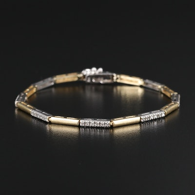 14K Two-Tone Diamond Bar Link Bracelet