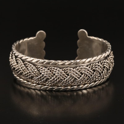 Taxco Mexican Sterling Silver Braid Motif Cuff