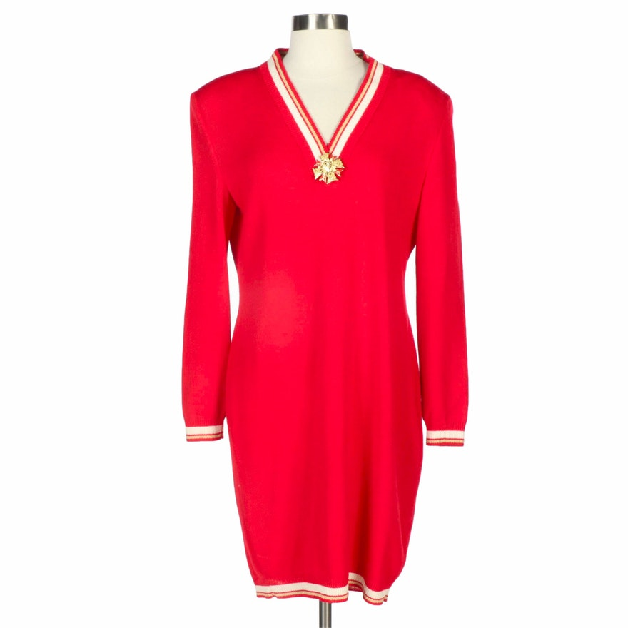 St. John Collection V-Neck Knit Sweater Dress with Enameled and Gold Tone Brooch
