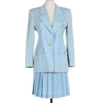 Escada Light Blue Wool Pleated Skirt Suit