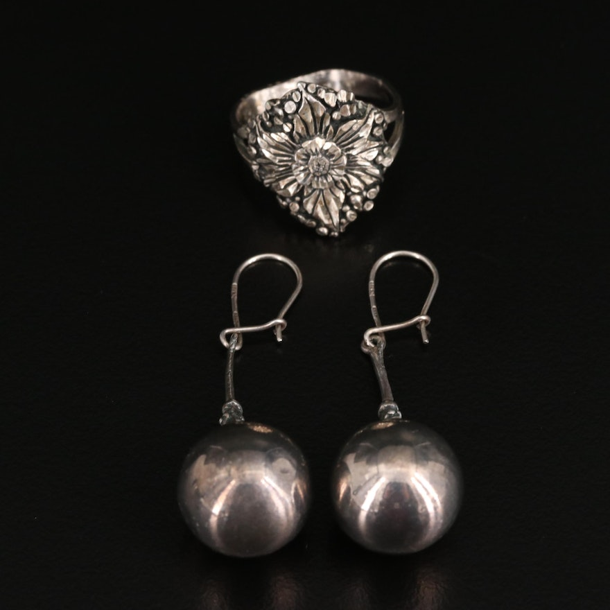 Vintage Sterling Silver Floral Ring and Dangle Earrings