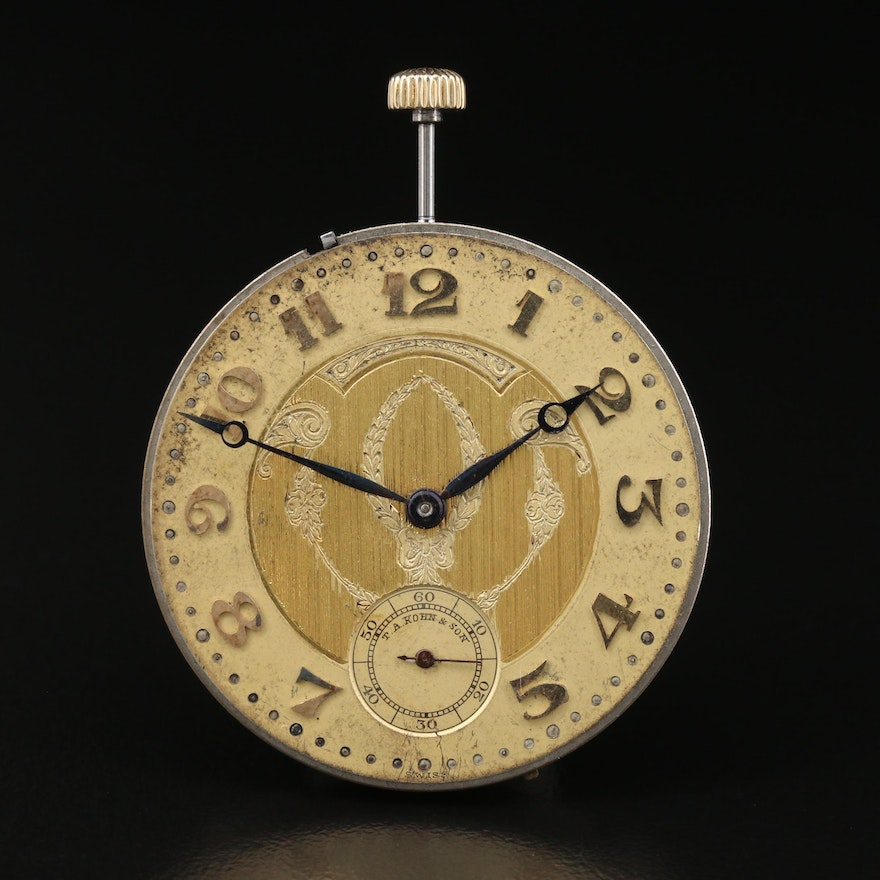 Swiss Paul Ditisheim Pocket Watch Movement for T. A. Kohn & Son Private label