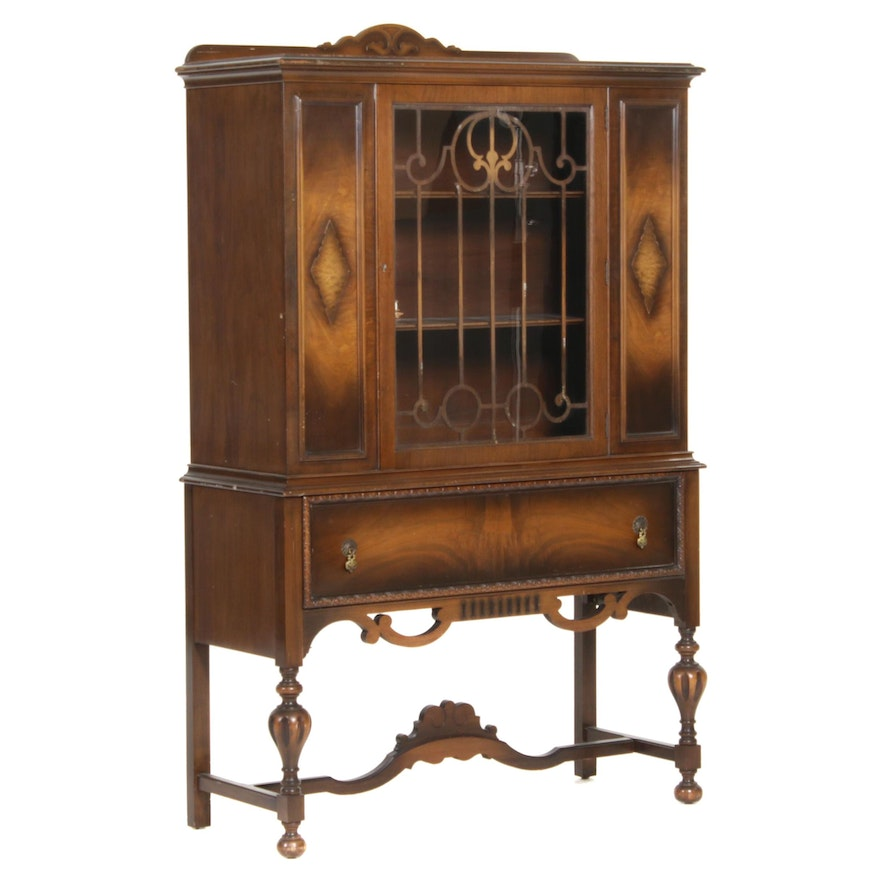 Central Furniture Jacobean Revival Walnut China Cabinet, Mid-20th Century