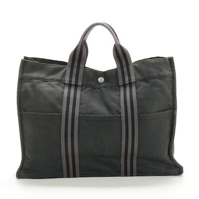 Hermès Paris Fourre Tout GM Tote in Black/Grey Canvas