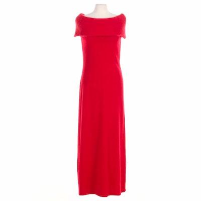 Lauren Ralph Lauren Red Wool Sleeveless Dress with Angora Rabbit Hair Blend Trim