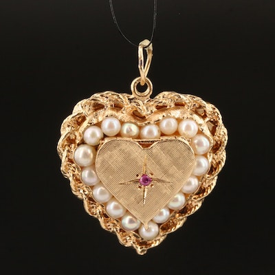 Vintage 14K Pearl and Ruby Heart Locket Pendant