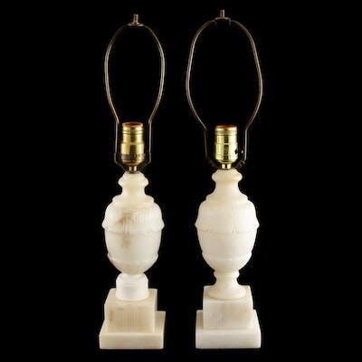 Pair of Romanian Carved Alabaster Urn Table Lamps