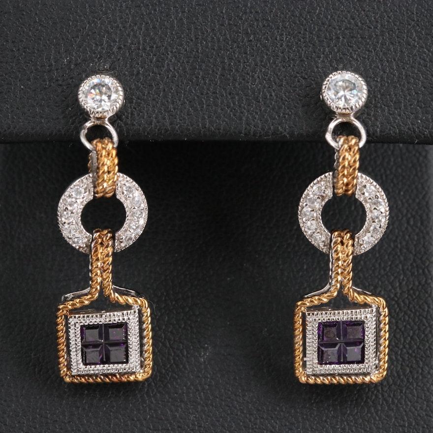 Sterling Cubic Zirconia Dangle Earrings