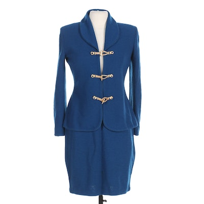 St. John Collection Blue Knit Jacket and Skirt