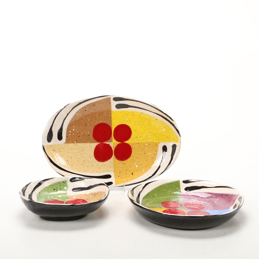 Jack Charney Pottery Platter and Bowls, Late 20th Century