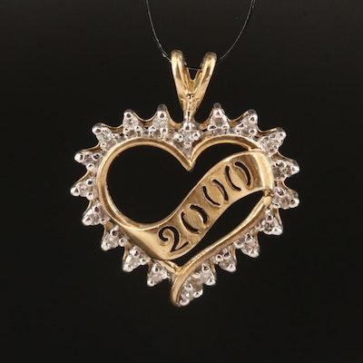 "10K Diamond ""2000"" Heart Pendant"