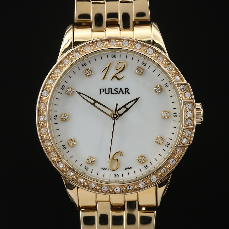Pulsar Crystal and Mother of Pearl Gold Tone Quartz Wristwatch